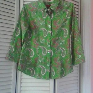 Talbots Tops - Talbots Pink & Green Paisley Fitted Blouse